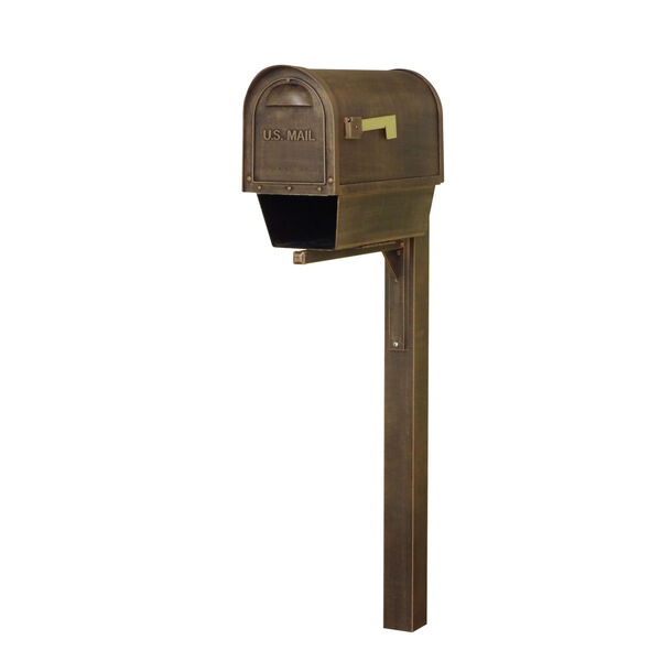 Classic Curbside Copper Mailbox with Newspaper Tube and Wellington Mailbox Post, image 1