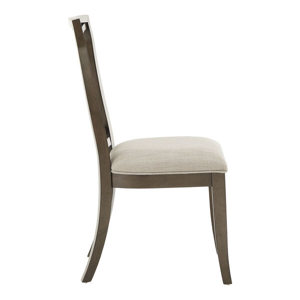 Gloria Dark Walnut and Beige Dining Chair, Set of Two, image 3
