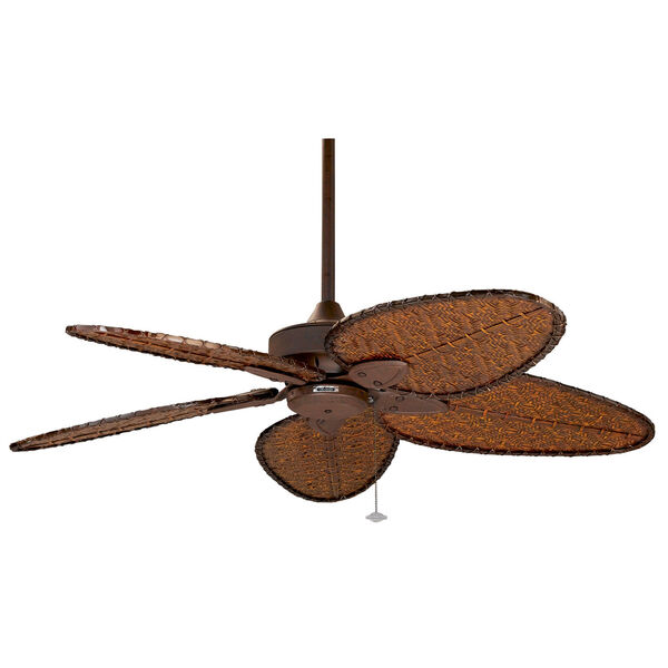 Windepointe Rust Ceiling Fan with Narrow Oval Antique Bamboo Blades, image 1