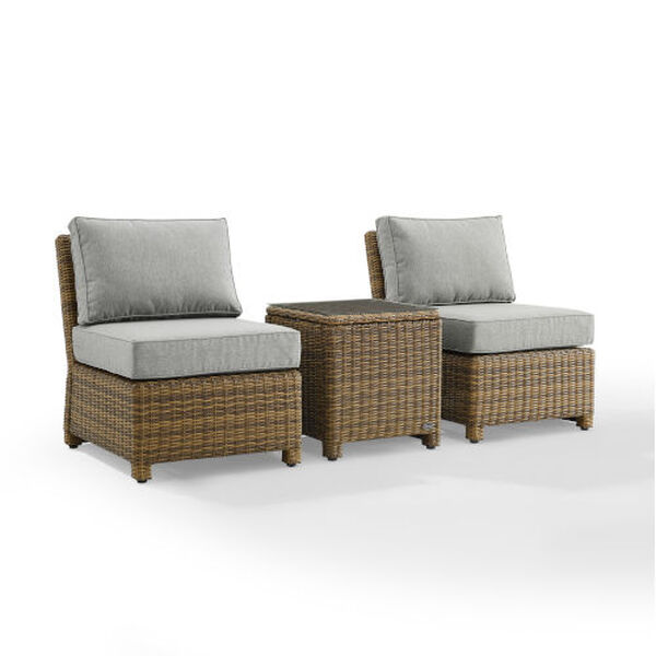 Bradenton Gray Weathered Brown Three-Piece Outdoor Wicker Chair Set, image 6