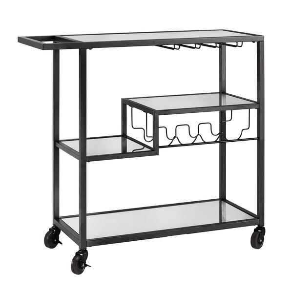 Juan Black Glass Top Metal Bar Cart, image 1