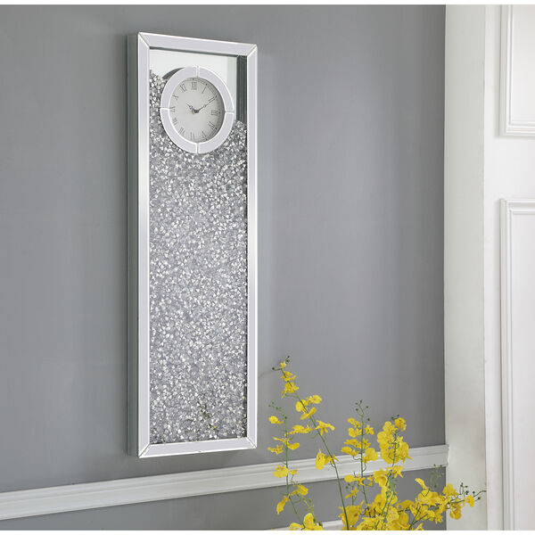 Modern Mirrored 35-Inch Crystal Wall Clock, image 1