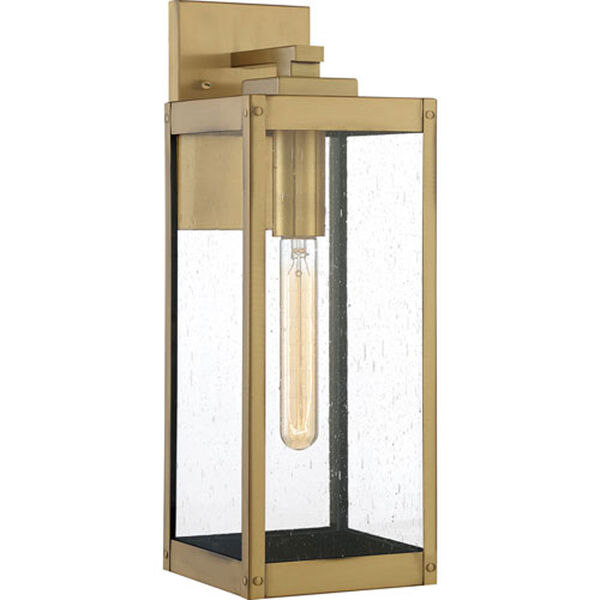 Pax Antique Brass Six-Inch One-Light Outdoor Wall Mount with Seedy Glass, image 1