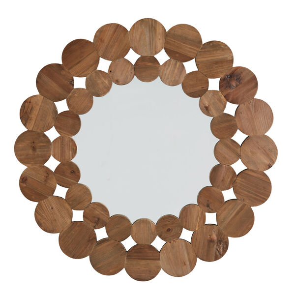 Katherine Natural Reclaimed Wood 39-Inch Round Wall Mirror, image 3