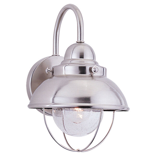 River Station Brushed Stainless 11-Inch One-Light Outdoor Wall Sconce, image 1