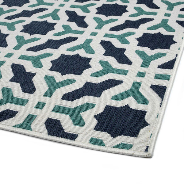 Puerto White and Blue Pattern Indoor/Outdoor Rug, image 5