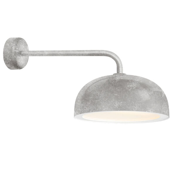 Dome Galvanized One-Light 14-Inch Outdoor Wall Sconce with 18-Inch Arm, image 1