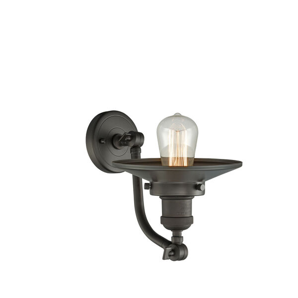 Franklin Restoration Oil Rubbed Bronze Five-Inch One-Light Wall Sconce with Railroad Oil Rubbed Bronze Metal Shade, image 2