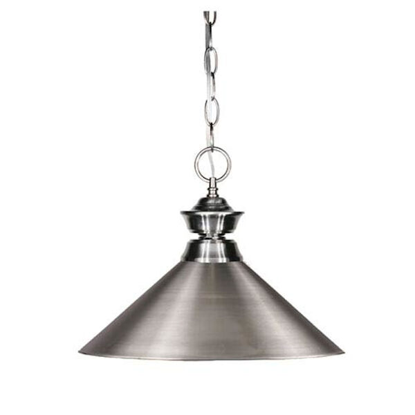 Pendant Lights One-Light Pewter Pendant with Angled Brushed Nickel Metal Shade, image 1