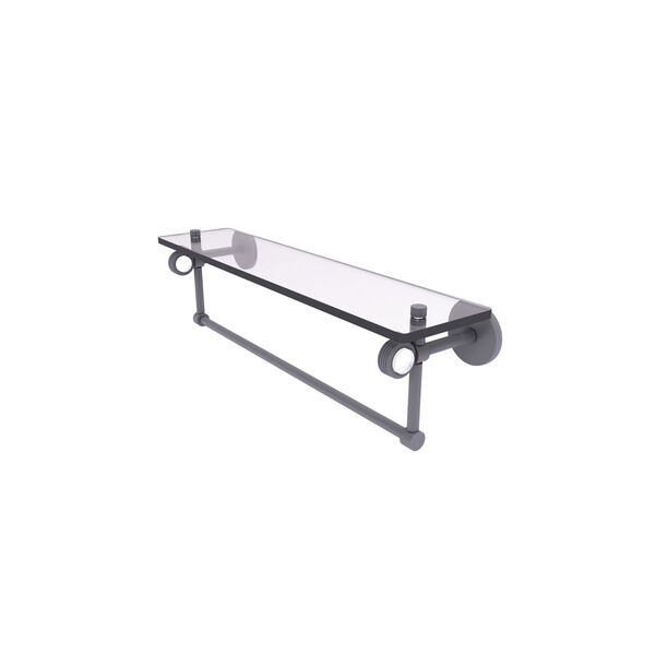 Clearview Matte Gray 22-Inch Glass Shelf with Towel Bar and Groovy Accents, image 1