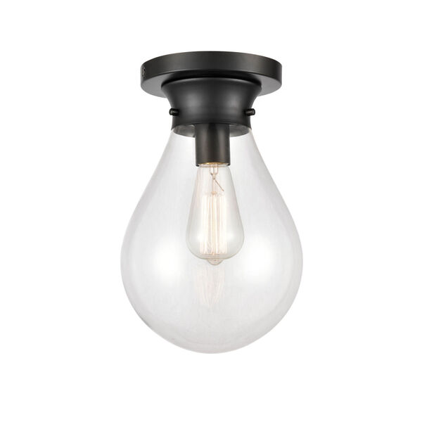 Genesis Matte Black Eight-Inch One-Light Flush Mount with Clear Glass Shade, image 1
