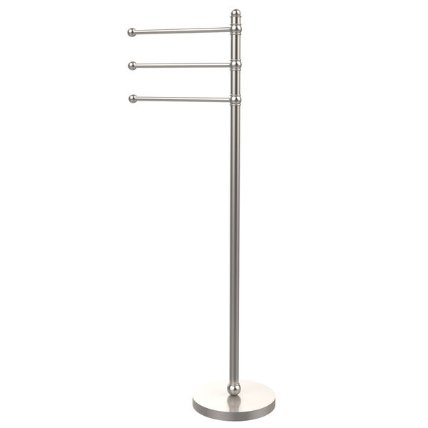 49 Inch Towel Stand with 3 Pivoting Arms, Satin Nickel, image 1
