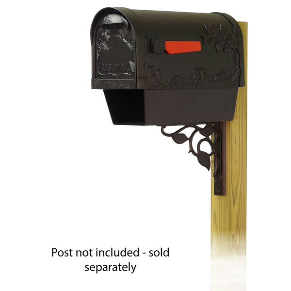 Curbside Black Hummingbird Mailbox with Newspaper Tube and Floral Front Single Mounting Bracket, image 1
