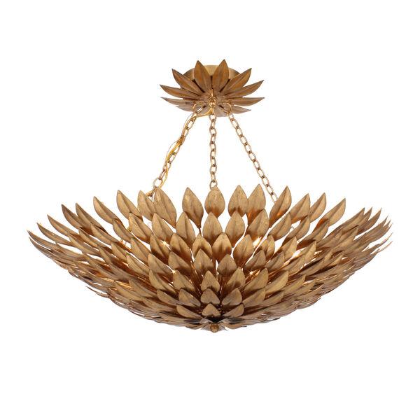 Broche Antique Gold Six-Light Gold Leaf Pendant Chandelier, image 2
