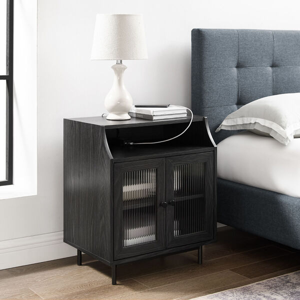 Graphite Fluted Glass Two Door Nightstand with USB, image 1