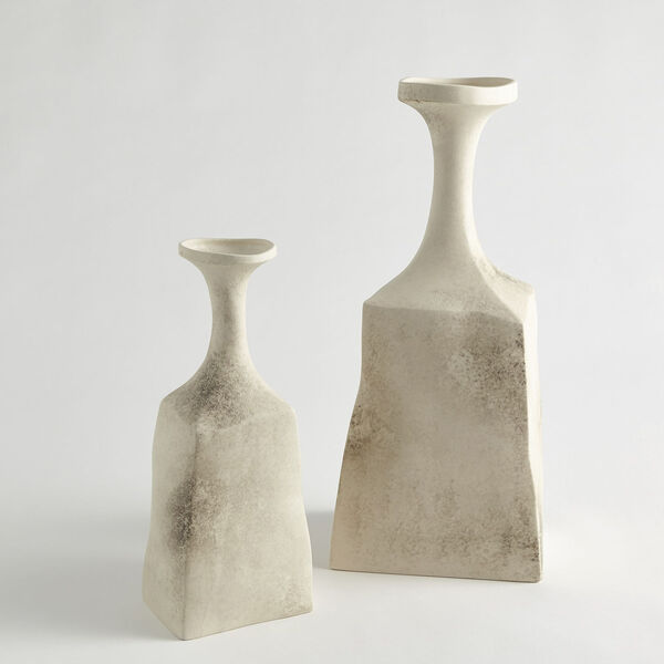 Matte Cream 6-Inch Rhombus Marble Vase, image 2