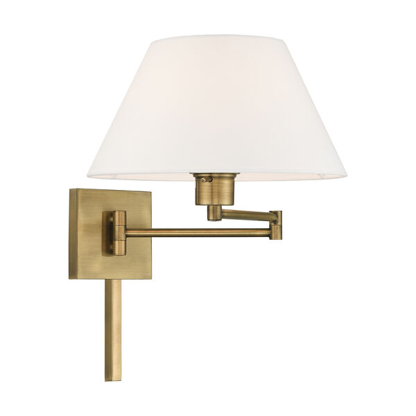 Swing Arm Wall Lamps Antique Brass 13-Inch One-Light Swing Arm Wall Lamp with Hand Crafted Off-White Hardback Shade, image 4