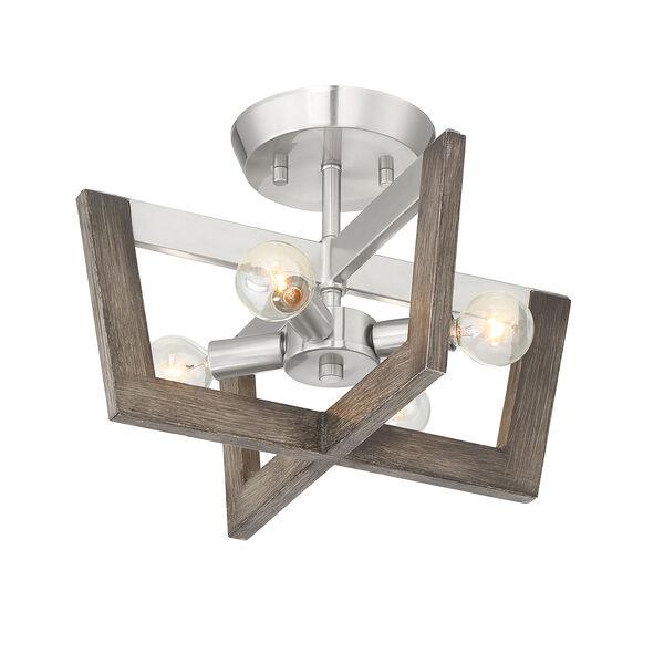 Westend Satin Platinum Four-Light Semi-Flush, image 3