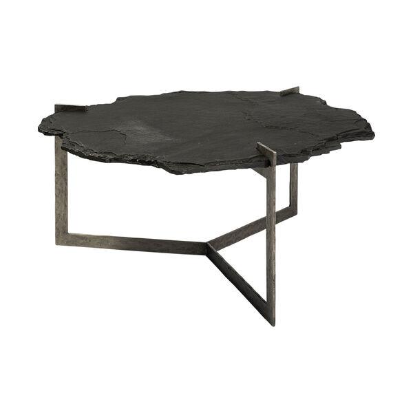 Shale II Black Irregular Live-Edge Slate Coffee Table with Flat Iron Base, image 1