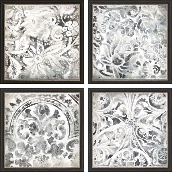 Black and White Stone Tile Framed Art, Set of 4, image 2