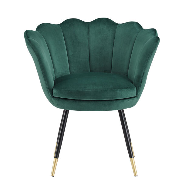 Stella Green Velvet Seashell Armless Chair with Black and Gold Leg, image 2