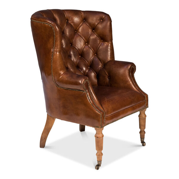 Brown Welsh Leather Chair, image 1