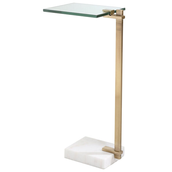 Butler Brushed Brass and White Accent Table, image 6