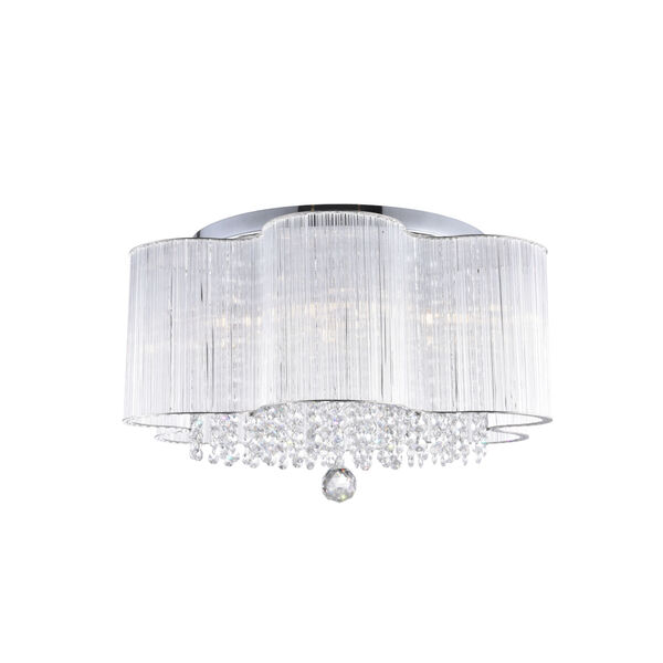 Spring Morning Chrome Seven-Light Drum Shade Flush Mount with K9 Clear Crystals, image 5