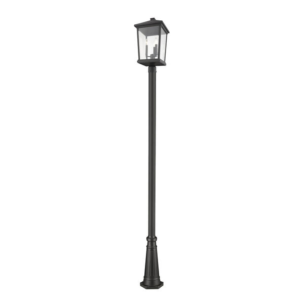 Beacon Black Three-Light Outdoor Post Mounted Fixture With Transparent Beveled Glass, image 1