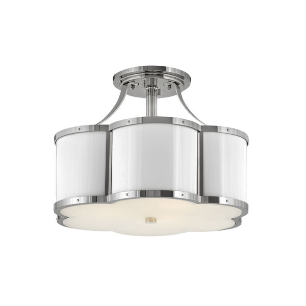 Chance Polished Nickel Three-Light Foyer Semi-Flush Mount With Etched Lens Glass, image 1