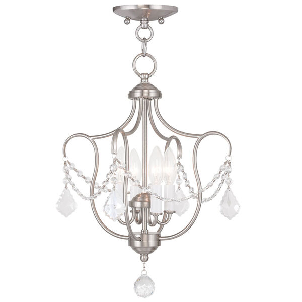 Chesterfield Brushed Nickel Four Light Convertible Chain Hang and Ceiling Mount, image 1