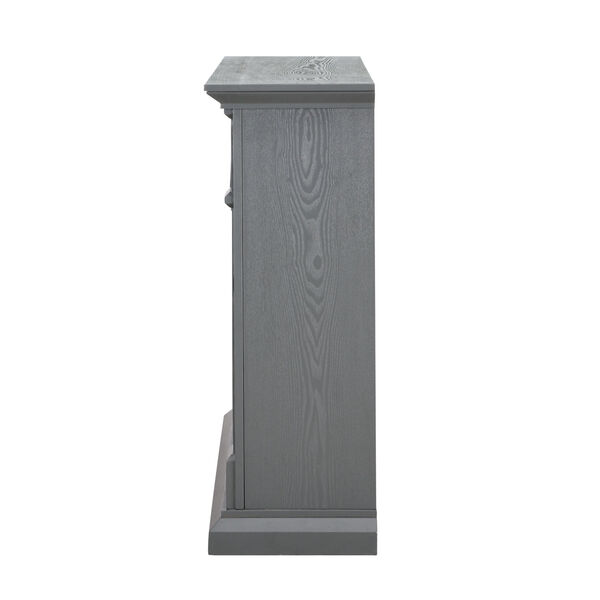 Seneca Cool Slate Gray Electric Media Fireplace with Weathered Stacked Stone, image 6