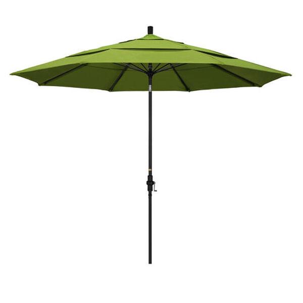 11 Foot Fiberglass Market Umbrella Collar Tilt Double Vent Matted Black/Sunbrella/Macaw, image 1