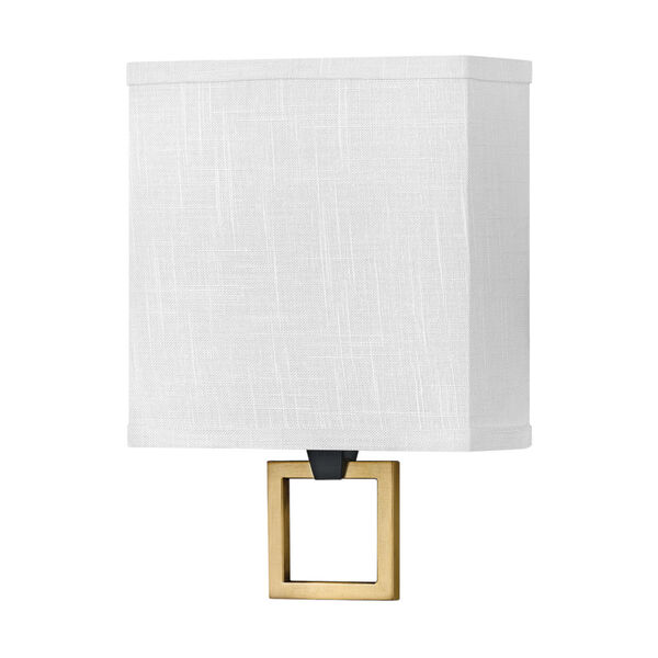 Link Black One-Light LED Wall Sconce with Off White Linen Shade, image 1