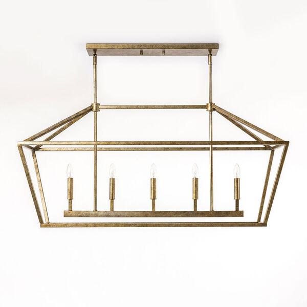Kenwood Vintage Gold Five-Light Linear Pendant, image 1