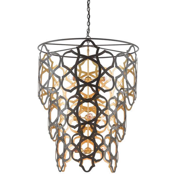 Mauresque Bronze Gold Nine-Light Chandelier, image 1