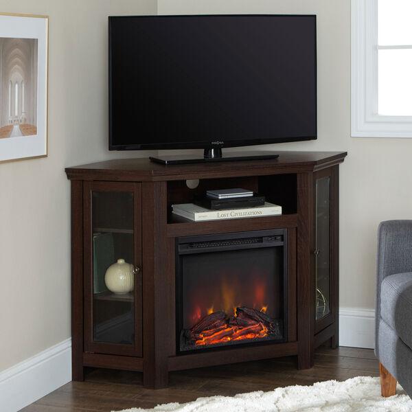 48-inch Corner Fireplace TV Stand - Espresso, image 1