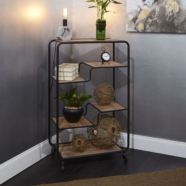 Gunmetal and Light Graphite Wood Multi-tiered Table Cart, image 1