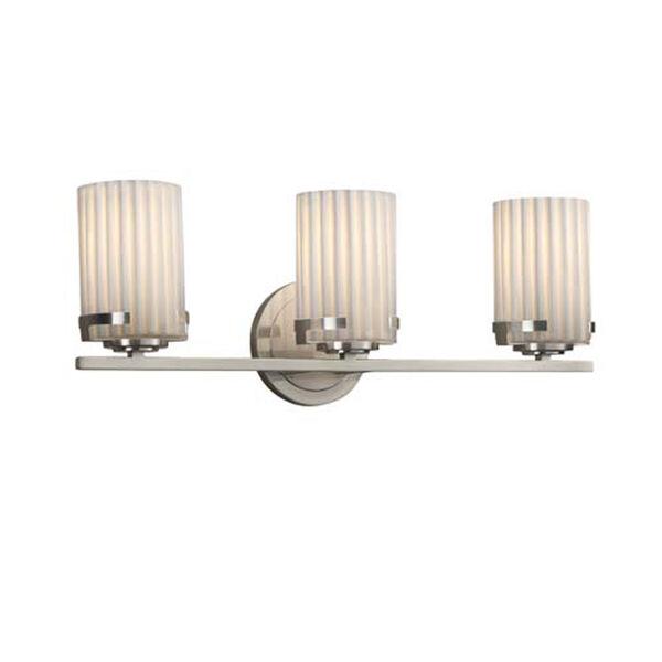 Limoges - Atlas Brushed Nickel Three-Light Bath Bar with Cylinder Flat Rim Pleats Shade, image 1