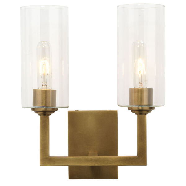 Linear Antique Brass and Clear Glass Two-Light Wall Sconce, image 2