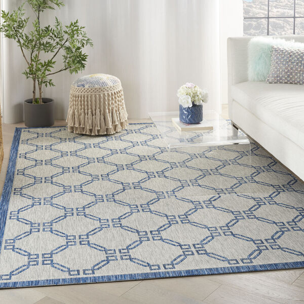 Garden Party Blue and Ivory 7 Ft. x 10 Ft. Indoor/Outdoor Rectangle Area Rug, image 1