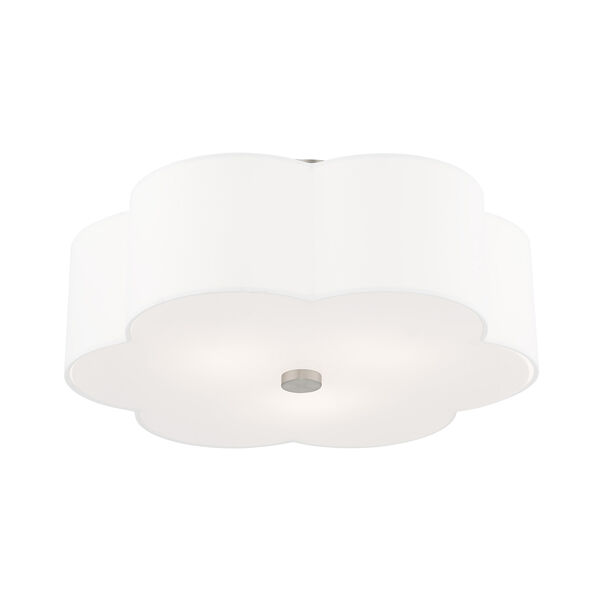Chelsea Brushed Nickel 18-Inch Three-Light Ceiling Mount with Hand Crafted Off-White Hardback Shade, image 5