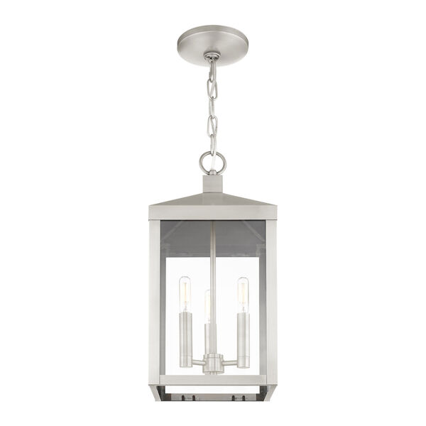 Nyack Brushed Nickel Three-Light Outdoor Pendant Lantern, image 4