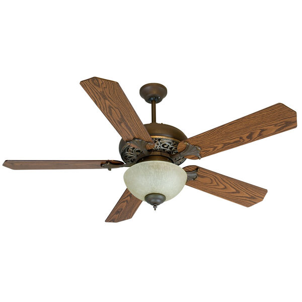 Mia Aged Bronze/Vintage Madera Ceiling Fan with 52-Inch Standard Reversible Dark Coffee/Dark Oak Blades and Tea-Stained Bowl Light Kit., image 1