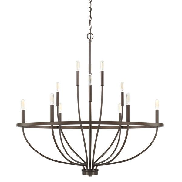 HomePlace Greyson Bronze 40-Inch 12-Light Chandelier, image 1