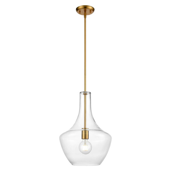 St. Julian Brass One-Light Pendant with Clear Glass, image 1