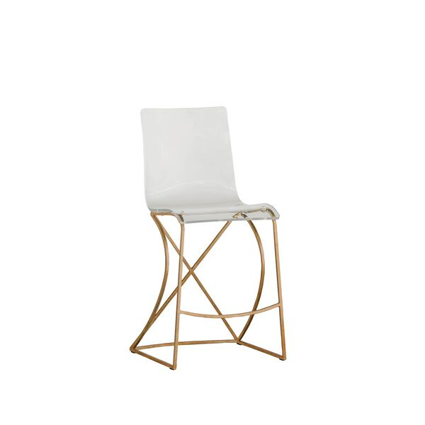 Johnson Antique Gold and Clear Acrylic Counter Stool, image 1