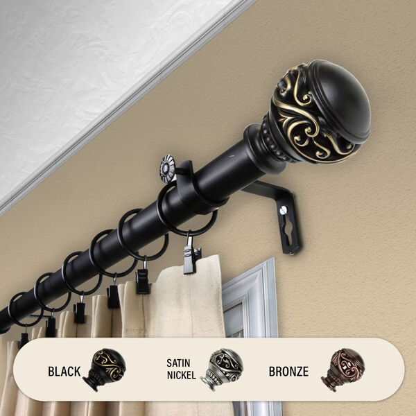 Isabella Black 120-Inch Curtain Rod, image 2