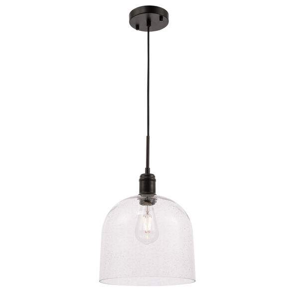 Gabe Black 10-Inch One-Light Pendant with Clear Seeded Glass, image 4