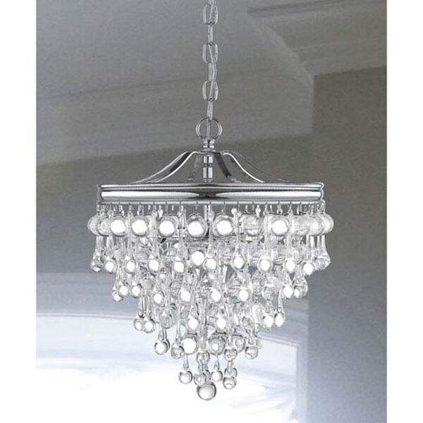 Hopewell Polished Chrome Three-Light Chandelier with Clear Crystal, image 2
